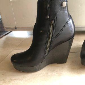 Coach black wedge booties